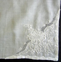 #White Embroidery with Replique Hem#