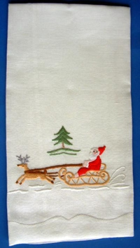 #Santa with Sleigh Guest Towel#